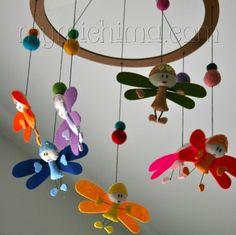 Dancing Dragonflies - Decorative Hanging Mobile - Stuffed Felt Animals