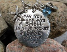 Beach Necklace Shell in Your Pocket & Sand by metaltrendsdesigns, $37.00