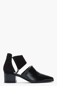 Alexander Wang - Black Kid Suede And Polished Leather Cut-out Nadine Boots