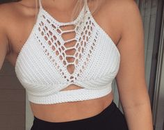Lace Detail Crochet Halter Top, Crochet Festival Top, Crochet Summer Top
