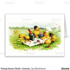 Happy Easter. Vintage Easter Chick Family design Customizable Easter Greeting Cards. Matching cards, postage stamps, envelopes and other products available in the Holidays / Easter Category of the oldandclassic store at zazzle.com