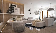 """W klimacie """"new nordic"""" Home Living Room, Living Room Designs, Living Room Decor, Interior And Exterior, Interior Design, Eclectic Design, Luxury Living, Luxury Furniture, Sweet Home"""