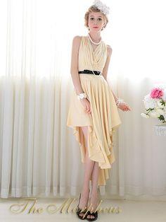 Morpheus Boutique  - Beige V Neck Sleeveless Pleated Hemline Trendy Dress(http://www.morpheusboutique.com/beige-v-neck-sleeveless-pleated-hemline-trendy-dress/)