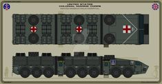 A mobile field hospital design. Army Vehicles, Armored Vehicles, Scrap Mechanics, Mobile Command Center, Aliens Colonial Marines, Science Fiction, Hospital Design, Expedition Vehicle, Futuristic Cars