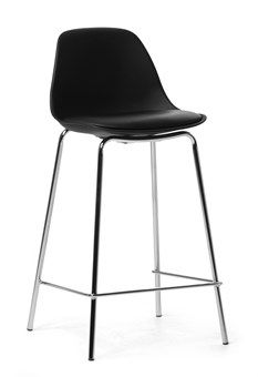 Kevin stool. Black imitation leather with base in chromed metal