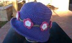 Handmade crochet girl's hat with crocheted flowers by smileyface21, $15.00