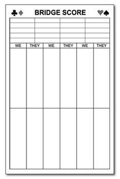 Bridge score cards template 28 images chicago score for Bridge tally template