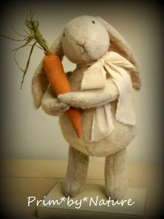"Primitive Standing White Bunny Rabbit ""Stuart"" with Spring Carrot"