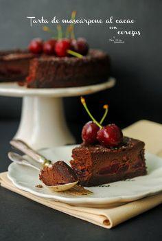 Tía Alia Recetas: Tarta de marcarpone al cacao con cerezas del Jerte para el #díadeCEREZADELJERTE