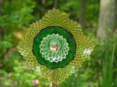 Re Purposed, Up Cycled Glassware, Garden Art, Patio Decor, Fence Decor, Home Decor, Glass Flower, Sun Catcher, Garden Stake,Garden Ornament.
