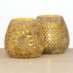 One of my favorite discoveries at WorldMarket.com: Soapstone Votive Holders, Set of 2