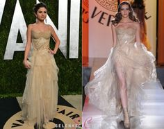 Selena Gomez stuck to her tradition and attended the 2013 Vanity Fair Oscar's Party for her third year in a row, looking stunning in a dress from the Atelier Versace Fall 2012 collection.This is a different look from what she's been wearing lately, what do you think of it?
