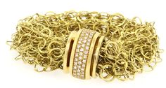 Orlandini heavy 18k yellow gold 0.69ct VS1/G diamond fancy multi chain bracelet  | eBay