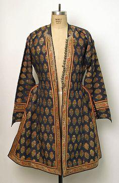 POST SCA period Coat Date: 18th century–19th century Culture: Iranian Medium: silk, cotton, metallic Dimensions: [no dimensions available]