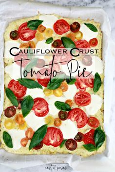 Cauliflower Crust Tomato Pie is low carb and Keto approved. This recipe substities the traditional crust for a very low carb crust. So delicious and easy! Low Carb Ice Cream, Tomato Pie, Cauliflower Crust, Favourite Pizza, Christmas Appetizers, Crust Recipe, Recipe Details, Yummy Food, Yummy Recipes