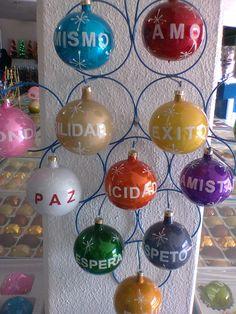Adorno navideño hecho de esferas.