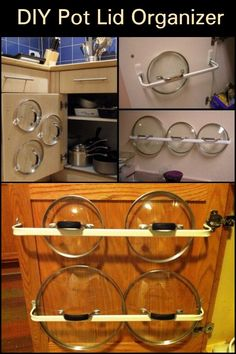 DIY Pot Lid Organizer Can't Find The Right Lid For a Pot? Here Are a Couple of Simple and Inexpensive Solutions Pot Lid Storage, Pot Lid Organization, Lid Organizer, Kitchen Cabinet Organization, Kitchen Furniture, Kitchen Decor, Kitchen Ideas, Diy Kitchen Storage, Home And Deco