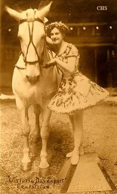 Vintage postcard from Paul Jackson's collection of old postcards. Victoria Davenport performed with Barnum and Bailey's circus in 1913.
