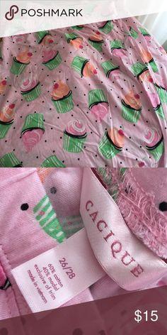 Cacique  Lane Bryant cupcake pajama pants 26/28 Lane Bryant Cacique pajama pants pink background with colorful cupcakes.      new without tags                                              pink ribbon drawstring waist                           size 26/28                                                        60% cotton 40% modal Cacique Intimates & Sleepwear Pajamas