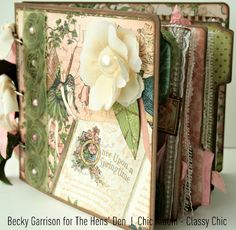 "Beautiful ""Once Upon a Springtime"" mini album by @Becky Forrester Garrison. Click on the picture to see all her beautiful steps and pages! #graphic45 #minialbum"