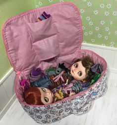 Travel Bag Sleeping Protective For Two Dolls Case Blythe Littlefee Handcrafted Handmade 1/6 Bjd Dal Pullip Bicycle Pink - https://www.etsy.com/listing/232506728/travel-bag-sleeping-protective-for-two?ref=listing-shop-header-0