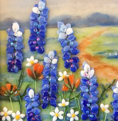 Art Glass Painting Blue Bonnets by CDChilds on Etsy