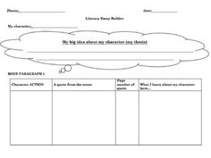 Literary Essay Graphic Organizers  Graphic Organizers School And