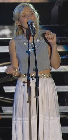 Scarlett's grey embellished crop top and white maxi skirt on Nashville.  Outfit Details: http://wornontv.net/26130/ #Nashville