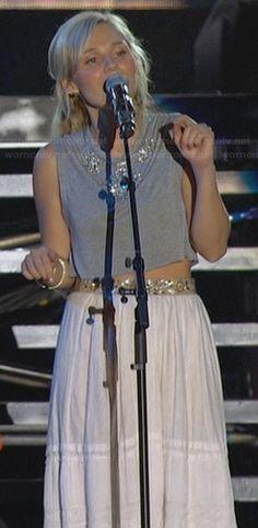 Scarlett's grey crop top and white maxi skirt on Nashville