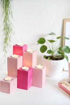 Kreative Herbstidee zum selbermachen: Lichtertreppe für Teelichter aus Holz einfach selbstgemacht aus Vierkanthölzern mit Step by Step Anleitung | Teelichthalter selbstgemacht | DIY Kerzenhalter