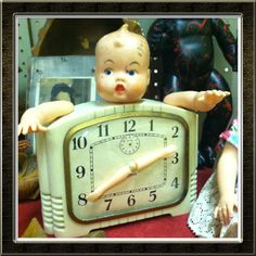 Re-purposed doll. Re-purposed clock. Found art. Found Object Art, Found Art, Doll Toys, Baby Dolls, Broken Doll, Deco Originale, Monster Dolls, Recycled Art, Repurposed
