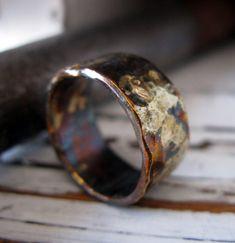 Rustic Mens Wedding Band Oxidized Sterling Silver от RUSTICforMEN