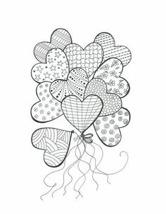 Heart balloons with patterns colouring in, mandala coloring, coloring books, easy mandala drawing Heart Coloring Pages, Colouring Pages, Adult Coloring Pages, Coloring Books, Doodle Art, Heart Doodle, Zentangle Patterns, Embroidery Patterns, Zentangles