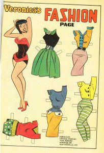"""Veronica Lodge (yes, of Archie's """"Betty and Veronica"""") is a style goddess and one of my all-time favourite fashion plates. Sure, she is technically a cartoon character who will celebrate her birthday next month,… Bd Comics, Archie Comics, Comic Book Paper, Comic Books, Comic Art, Vintage Paper Dolls, Vintage Toys, Paper Toys, Paper Crafts"""