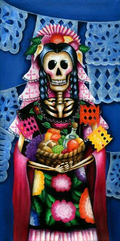 Super beauty and colorfull wallpaper for The day of The dead tradition. Mexico Day Of The Dead, Day Of The Dead Art, Mexican Skulls, Mexican Art, All Souls Day, Candy Skulls, Sugar Skull Art, Chicano Art, Paint Party