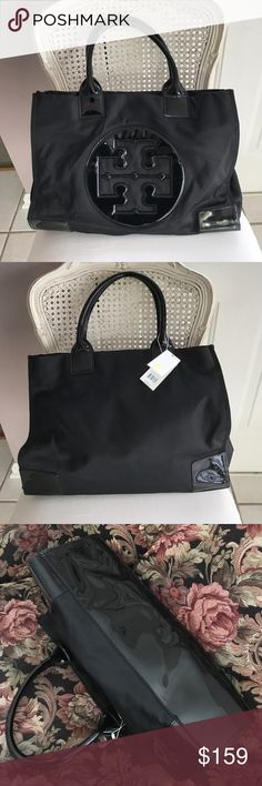 """🆕Authentic✨Tory Burch Large Tote 🆕Black """"Ella"""" nylon tote, magnetic closure, gusset snaps. Interior, 1 zip pocket and 2 open. Approximately 13""""H, 17"""" L, 5 1/2"""" D. Protective sheath still on inner hardware. Tory Burch Bags"""