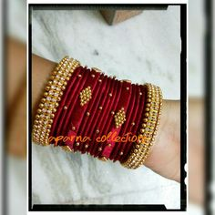 Silk Thread Bangles Design, Silk Thread Necklace, Silk Bangles, Beaded Necklace Patterns, Bridal Bangles, Thread Jewellery, Jewelry Patterns, Jewelry Closet, Terracota Jewellery