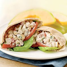 Make chicken salad Mediterranean wtih the addition of Greek yogurt, green olives, and chickpeas, and serve in pita bread halves. Greek...