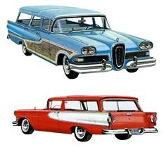 A vintage advertising image of the 1958 Edsel Bermuda and Roundup station wagons