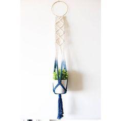 Gold Hoop Macrame Plant Hanger Hanging Planter Blue