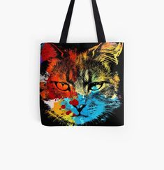 Cool cat colorful animal print tote bag. Watercolor art work for cat lovers. Cat Dad, Dog Mom, Animal Print Tote Bags, Beagle Art, Owl Artwork, Cute Pugs, Cat Colors, Baby Owls, Watercolor Art