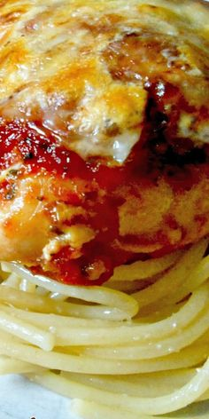 Smothered Italian Chicken with Buttered Garlic Spaghetti - It looks elegant, but is actually fairly simple. And, the flavor is simply sensational! ❊