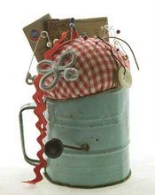 Vintage Sifter Pincushion ~ Adorable. I have my grandmother's old sifter. Perhaps I'll do this. :D