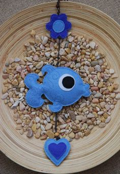 Blue fish decorative mobile by suyika on Etsy, €14.50