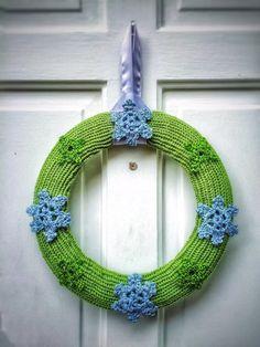 Unique Winter Decor Hand Knit Green Winter by DesignsbyPolina