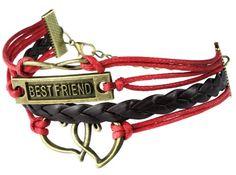 niceeshop(TM) Retro Stil 4 Strang Doppel Herz 8 Form Best Friend Wörter Anhänger Weben Leder Armband Armreif-Rosa Und Schwarz - http://schmuckhaus.online/niceeshop/rosa-und-schwarz-niceeshop-tm-modern-vintage-5