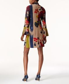 Olivia & Grace Floral Sweater Dress, Created for Macy's - Brown XS