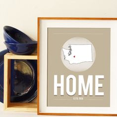 New Home Gift - Typography Poster Customized Map 8x10 Gray on Etsy, $15.00