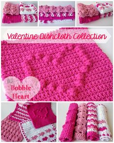 Dishcloth #2 in my Valentine Dishcloth Collection. The Bobble Heart Dishcloth: A Free Crochet Pattern from 5 Little Monsters