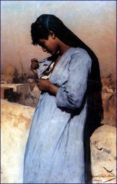 Egyptian girl with a butterfly, Leopold Carl Muller, Viennese. Oil, 1885.